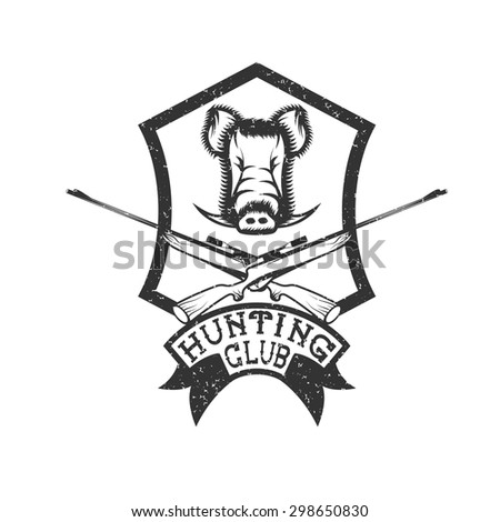 grunge hunting club crest with carbines and boar - stock vector