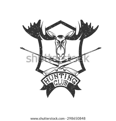 grunge hunting club crest with carbines and elk - stock vector