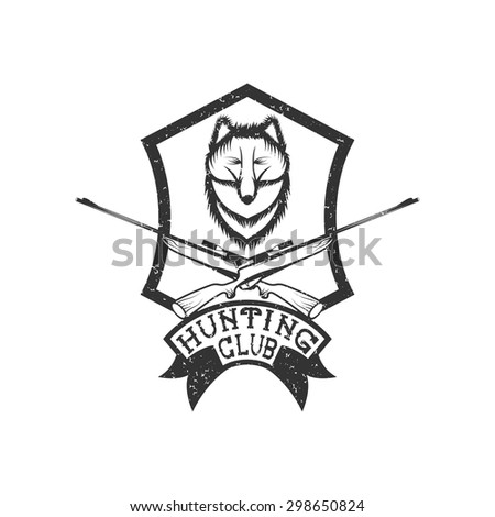 grunge hunting club crest with carbines and fox - stock vector