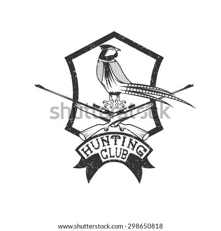grunge hunting club crest with carbines and pheasant - stock vector