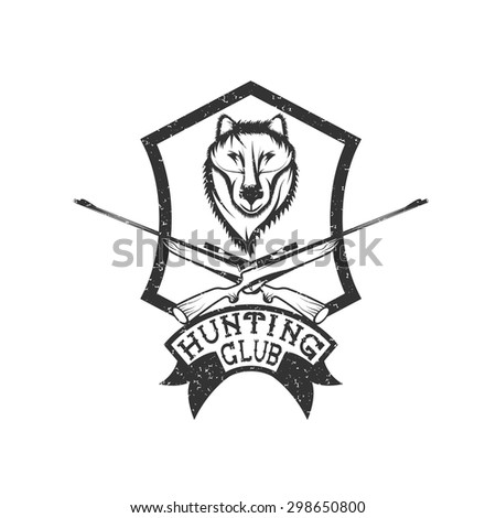 grunge hunting club crest with carbines and wolf - stock vector