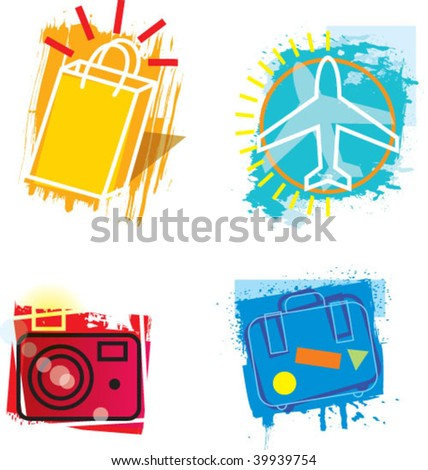 grunge icons - stock vector