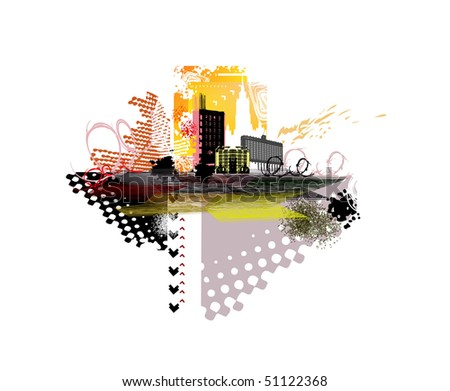 grunge illustration of abstract city - stock vector