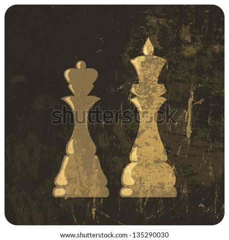 Grunge illustration of king and queen chess figures. Vector - stock vector