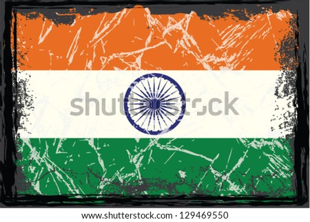 Grunge India flag. - stock vector