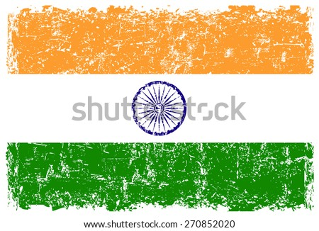 Grunge Indian flag.Flag of India with grunge texture.Vector template. - stock vector