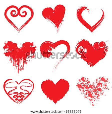 Grunge Ink Hearts - stock vector