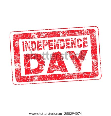 grunge isolated red stamp for 4th July or 15th August Independence day, vector - stock vector
