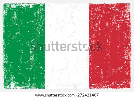 Grunge Italy flag.Italian flag with grunge texture.Vector template.