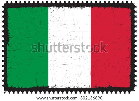 Grunge Italy flag.Postage stamp with Italian flag.Vector template.