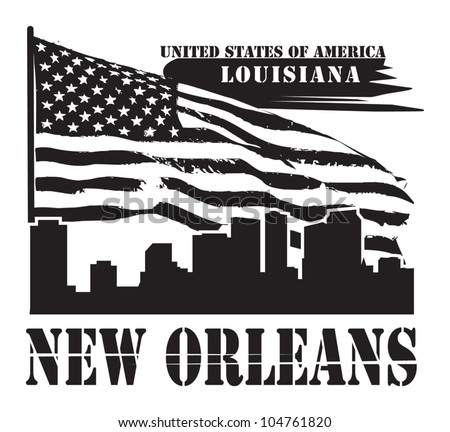 Grunge label with name of Louisiana, New Orleans, vector illustration - stock vector