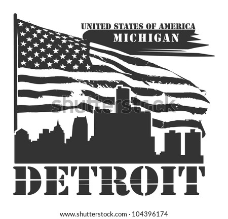 Grunge label with name of Michigan, Detroit, vector illustration - stock vector