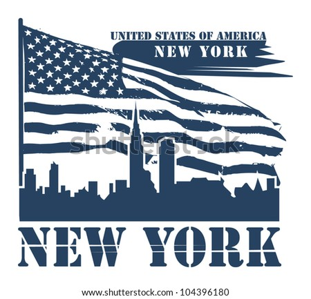 Grunge label with name of New York, vector illustration - stock vector