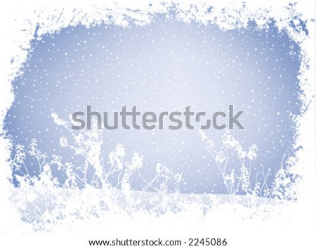 grunge landscape in wintertime with falling snow