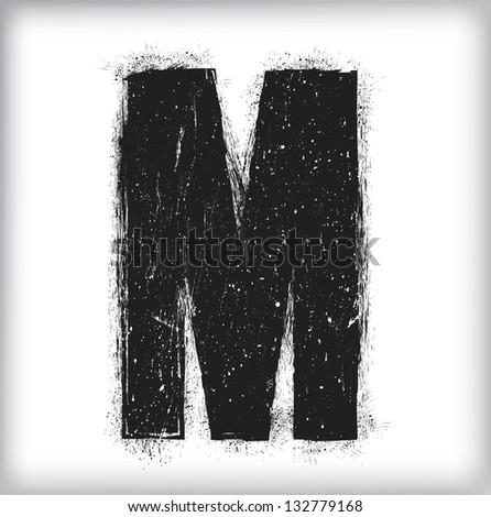 grunge letter - stock vector