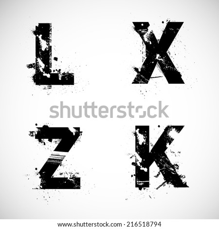 grunge letters - stock vector