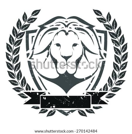 Grunge lion head emblem - stock vector