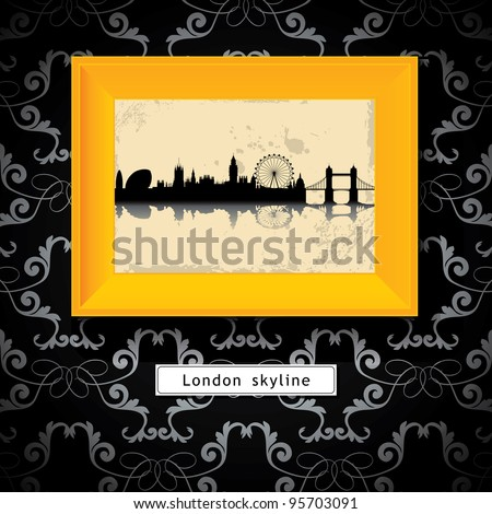 grunge London skyline in yellow photo frame - stock vector