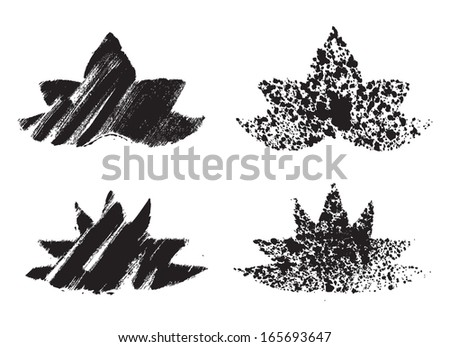 Grunge lotus flowers. Vector set