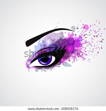 grunge make eye violet color fashion stock vector