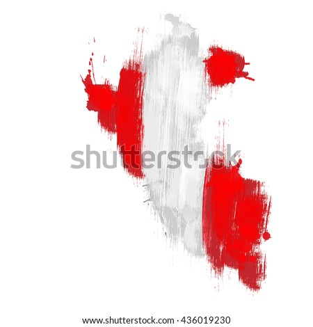 Grunge map of Peru with Peruan flag - stock vector