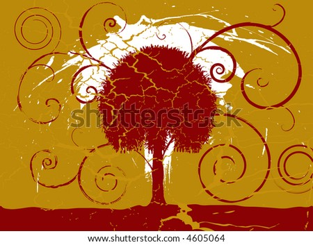 Grunge maroon and gold tree set on a cracked aged background - stock vector