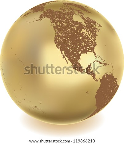 grunge metal globe - stock vector