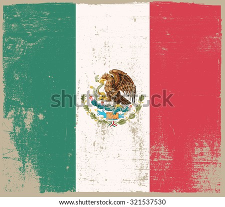 Grunge Mexico flag.Mexico flag with grunge texture.Vector illustration. - stock vector