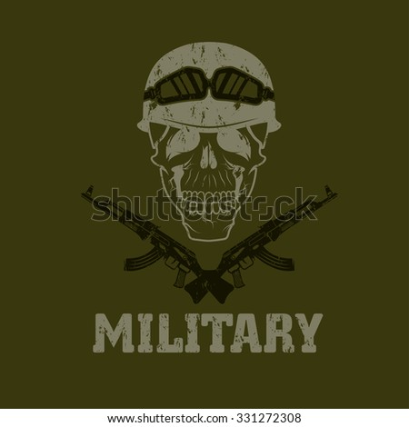 grunge military emblem with skull and automatic guns - stock vector