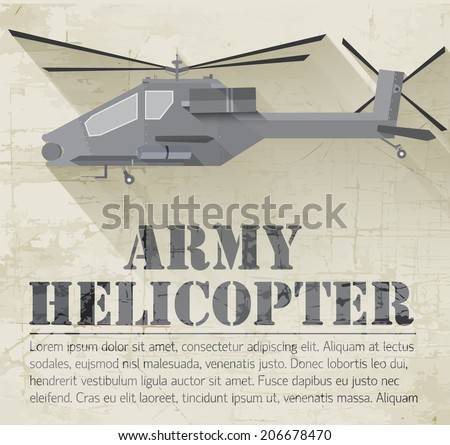 grunge military helicopter icon background concept. Vector illustration design - stock vector
