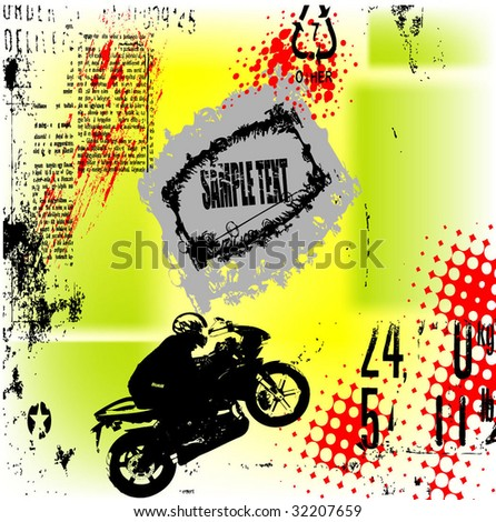 grunge motorcycle background vector - stock vector