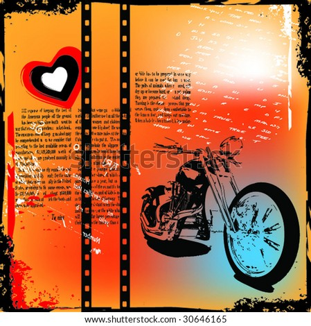 grunge motorcycle background vector illustration - stock vector