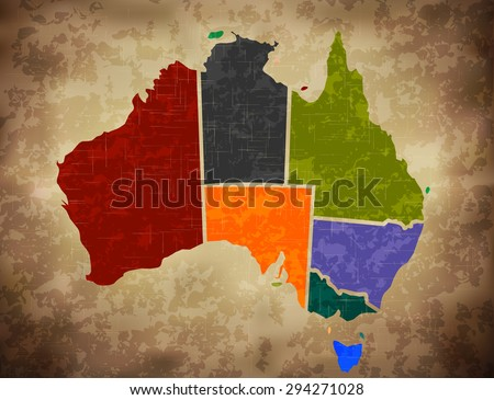 Grunge Multicolored Australian Map - stock vector