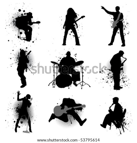 grunge music - stock vector