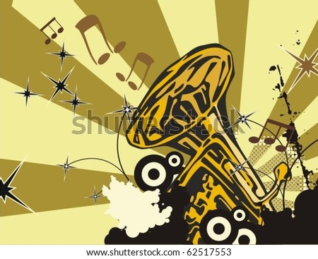 Grunge music background with a wind instrument. - stock vector