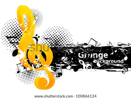 Grunge music background with g-clef and notes - stock vector