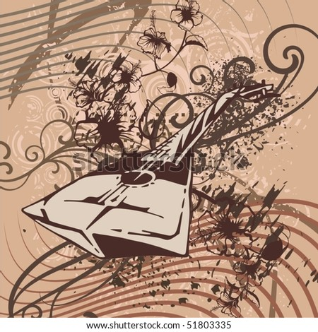 Grunge music instrument background. - stock vector