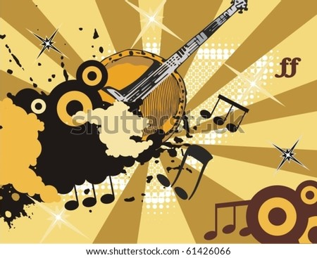 Grunge music instrument background with a banjo. - stock vector
