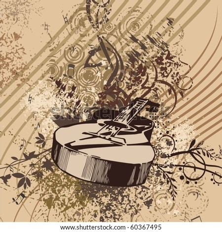Grunge music instrument background with a classic guitar. - stock vector