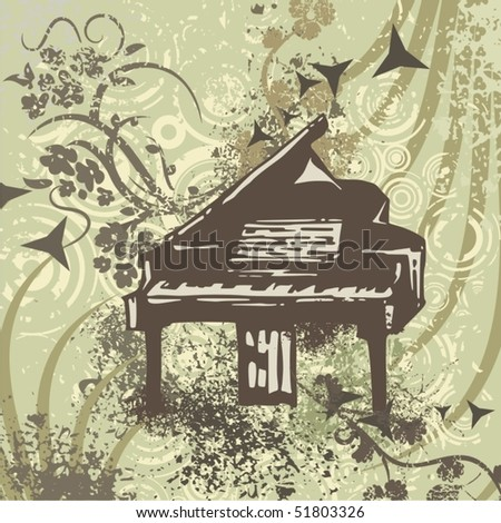 Grunge music instrument background with a piano. - stock vector