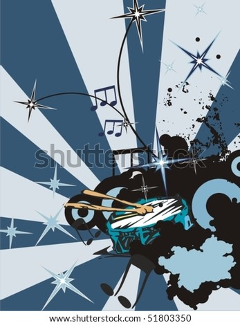 Grunge music instrument background with a tambourine. - stock vector