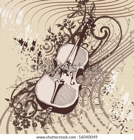 Grunge music instrument background with a violin. - stock vector