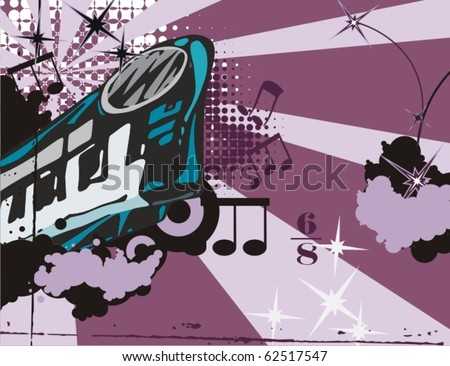 Grunge music instrument background with a xylophone. - stock vector