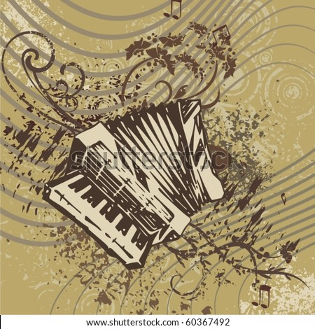 Grunge music instrument background with an accordion. - stock vector