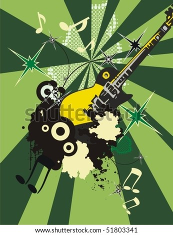 Grunge music instrument background with an electric guitar. - stock vector