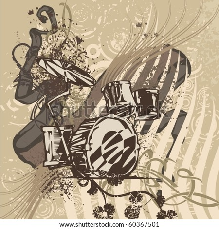 Grunge music instrument background with drums. - stock vector