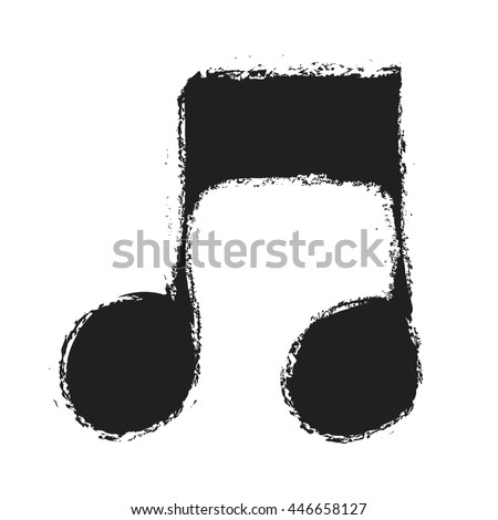 grunge music notes sign icon, vector
