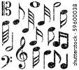 Grunge music notes vector - stock photo
