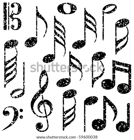 Grunge music notes vector - stock vector