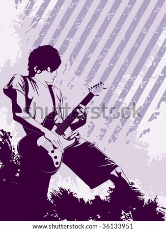 Grunge Musician in purple (vector); a JPG version is also available - stock vector
